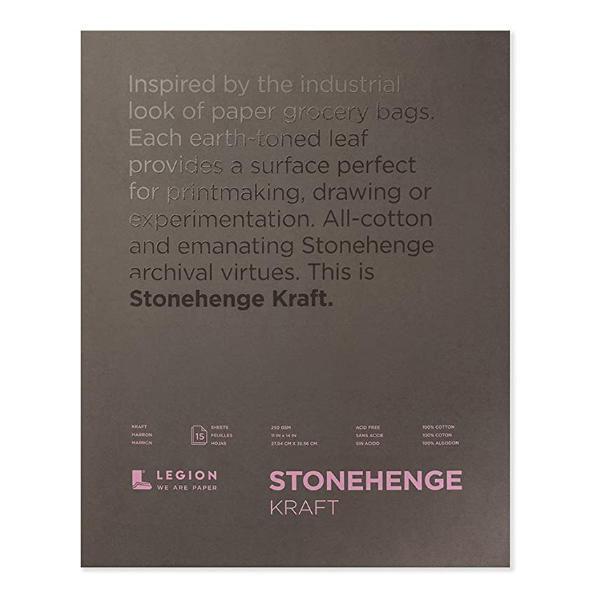 Legion Stonehenge Kraft Pad (L21-STP250KR1114), Cotton Deckle Edge Paper, 15 Sheets, 11 By 14 Inches