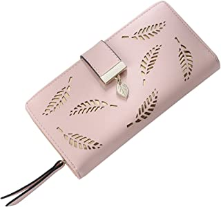 OULII Women Buckle Clutch Wallet Hollow Leaves Long Leather Purse Elegant Clutch Wallet for Card Cash Holding (Pink)