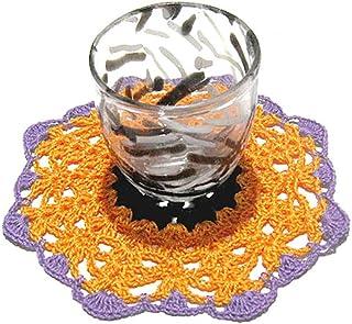 Posavasos redondo naranja para Halloween de ganchillo - Tamaño: ø 13 cm - Handmade - ITALY