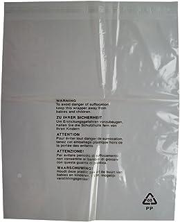 Lot de 100 sacs en plastique transparent avec avertissement de sécurité pour vêtements Taille L 350 x 425 mm