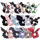 Bow Scrunchies For Hair, 18 Pcs Chiffon Satin Scrunchies Silk with Bow Scarf, Solid Stripe Flower...