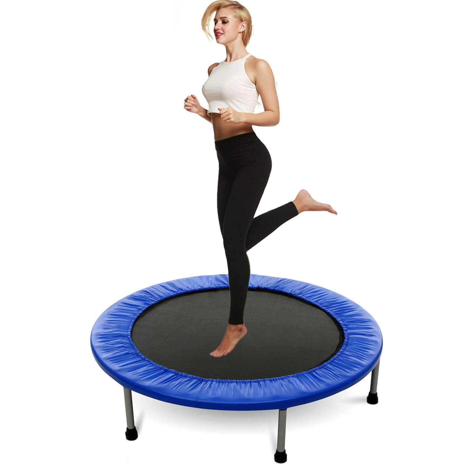 Balanu Exercise Trampoline Adults Blue 40In Foldable