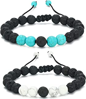 Mens Women 8mm Lava Stone Rock Bracelet Aromatherapy Anxiety Essential Oil Diffuser Yoga Bangle