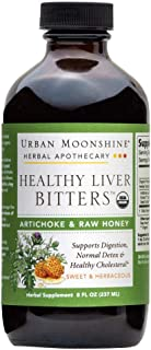 Urban Moonshine Healthy Liver Bitters | Organic Herbal Supplement for Digestion, Detox & Healthy Cholesterol Support | Artichoke & Raw Honey | 8 FL OZ (Pack of 1)