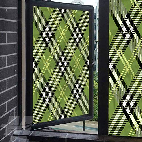 Uv Window Film Checkered Symmetrical Celtic Window Cling Non-Adhesive Decorative Film 35.4 x 157.4 inches