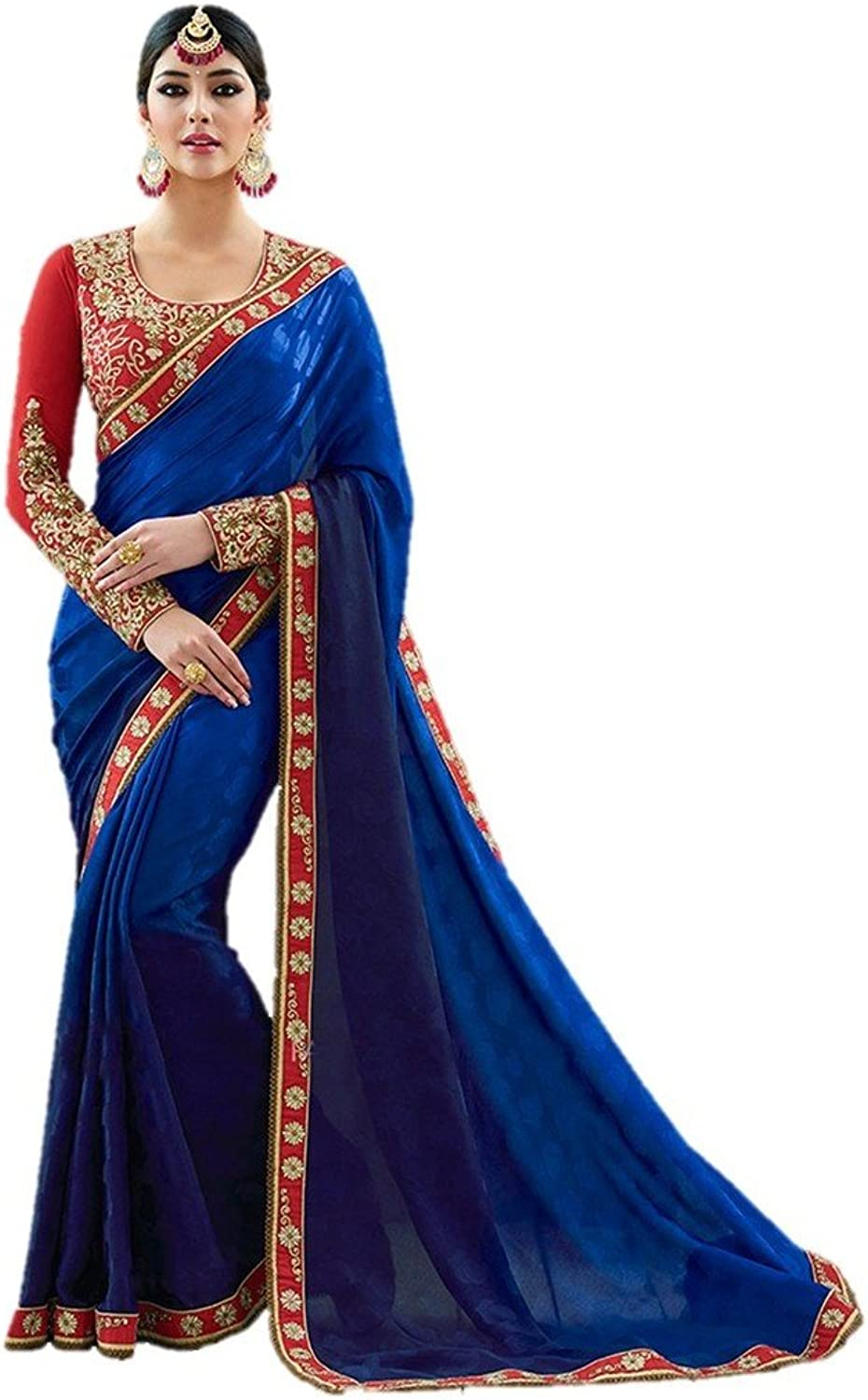 EthnicWear Traditional Art Silk bluee color Printed Designer Festival Reception Party Wear Lace Resham Work Sari Saree