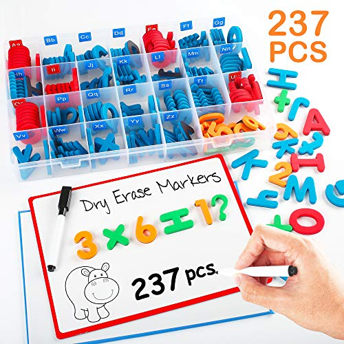 237PCS Magnets Letters and Numbers with Magnet Boards and Storage Box, Classroom Magnetic Letters Kit with Magnetic Pens, Foam Alphabet ABC Letters, Educational Toy Gifts for Kids Spelling Learning