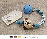 kleinerStorch Baby SCHNULLERKETTE mit Namen - Schnullerhalter mit Wunschnamen - Jungen Motiv Bär in Natur, blau
