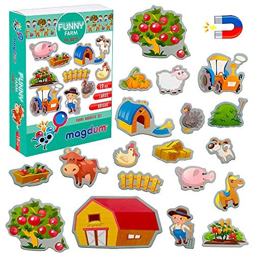 MAGDUM Imanes nevera niños Animales Granja - 19 Grandes imanes bebes - Montessori bebe - Animales de juguete - Juguetes bebes - Juegos educativos niños -Nevera juguete -Iman de nevera -Imanes animales