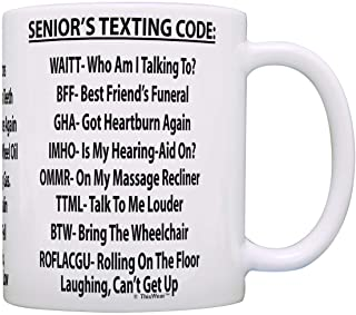 Retirement Gag Gift Senior`s Texting Code Office Humor Coworker Gag Gift Coffee Mug Tea Cup White