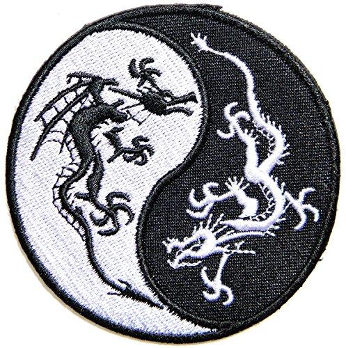 7.75'x7.75' Big Jumbo Large Chinese Dragon Yin Yang Kung Fu Teak Wan Do Tatoo Logo Back Jacket T-shirt Patch Sew Iron on Embroidered Sign Badge Costume
