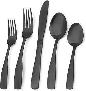 Matte Black Silverware Set, Bysta 20-Piece Stainless Steel Flatware Set, Kitchen Utensil Set Service for 4, Tableware Cutl...