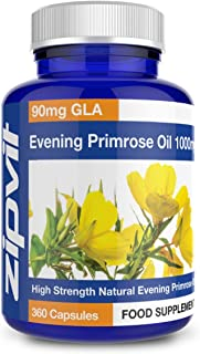 Zipvit Evening Primrose Oil 1000mg | 360 Capsules | Omega 6 90mg | 12 Months Supply | Made in UK