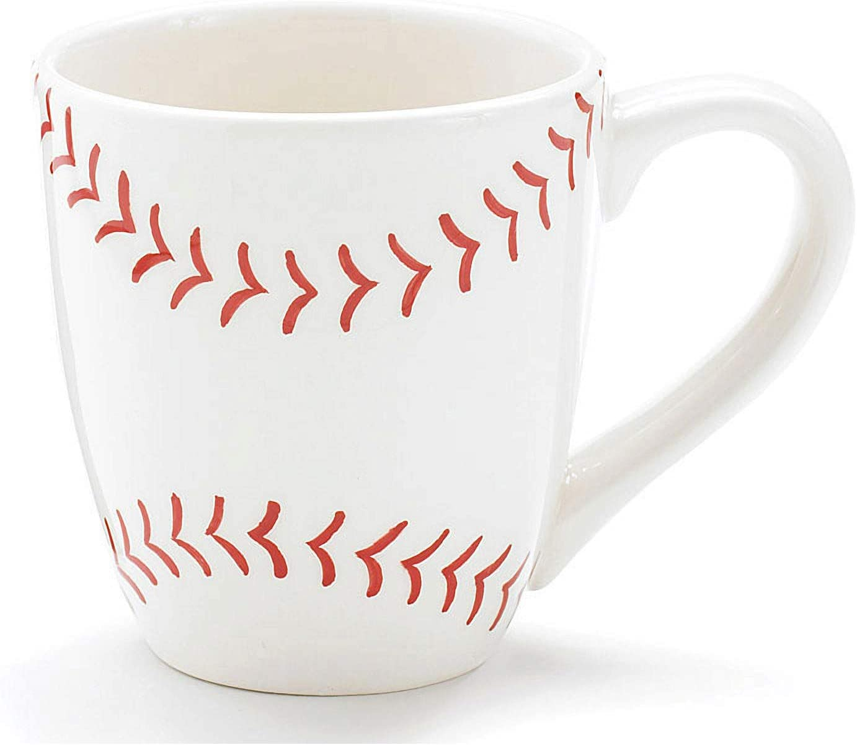 Burton Burton Baseball 13 Oz Ceramic Coffee Mug Great Gift For Sports Fans White With Red Baseball Pattern 13 Ounce Sports Outdoors