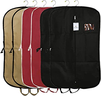 Kuber Industries 6 Pieces Foldable Non Woven Men's Coat Blazer Suit Cover (Black & Maroon & Brown) -CTKTC41764