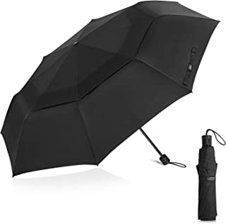 G4Free 62 Inch Large Folding Umbrella XL Compact Golf Umbrella Double Canopy (Black)