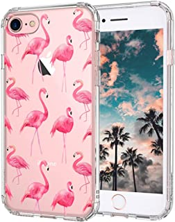 iPhone 8 Case, iPhone 7 Cover, MOSNOVO Cute Flamingo Tropical Clear Design Printed Transparent Plastic Hard Back Case with TPU Bumper Protective Phone Case Cover for iPhone 7 (2016) / iPhone 8 (2017)