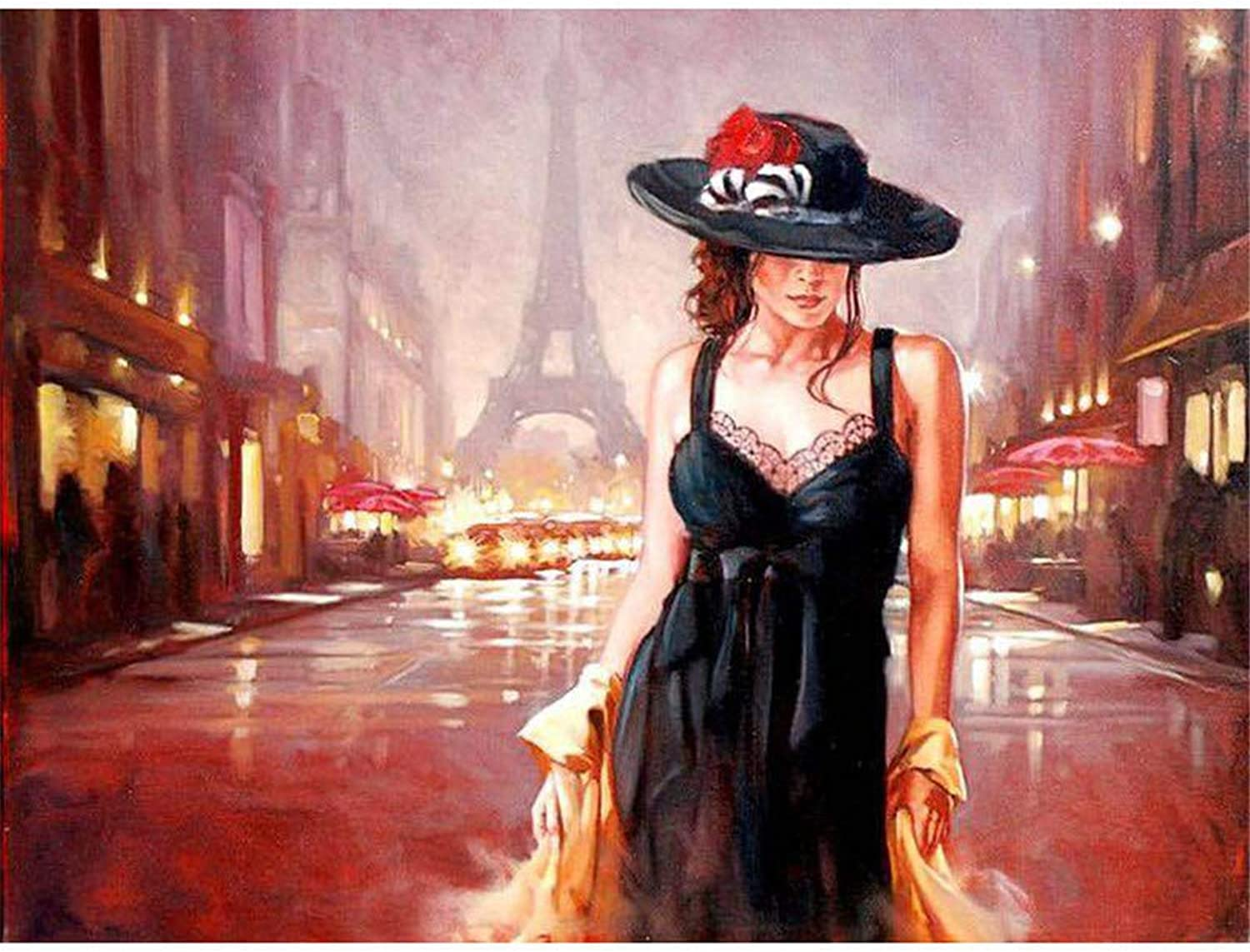 Jigsaw Puzzle 1000 Piece Street Girl in Paris Classic Puzzle DIY Kit Wooden Toy Unique Gift Home Decor