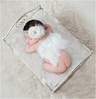 Newborn Photography Props with Angel Wings Chic Flower Lace Headband for Baby Girl Boy Toddler Camera Photo Accessories Posing Backgroud Cute Cupid Costume Outfit Children`s Day Party Birthday Gift