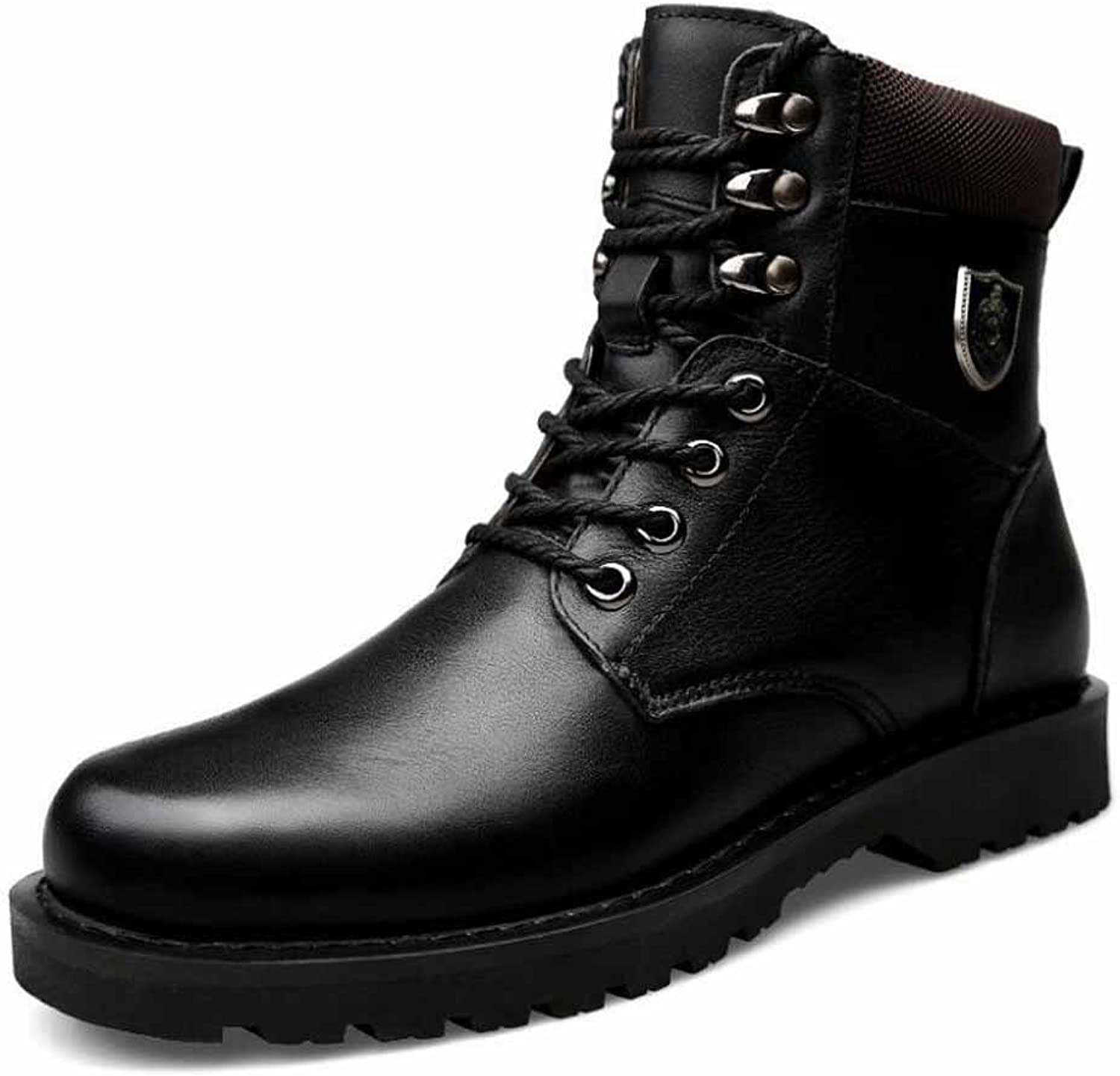 Men Outdoor Martin Boots Winter Warm Fur Lined Walking Boots High Top Fashion Work Boots Large Size