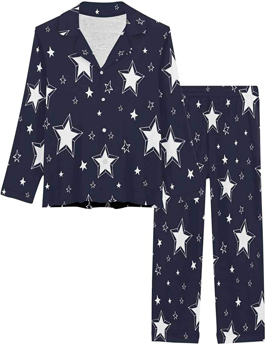 InterestPrint Long Sleeve Button Down Nightwear with Long Pants White Stars on a Dark