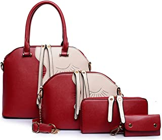 Womens Modern Simple For-Piece Top Handle Bag and Leather Satchel Handbag