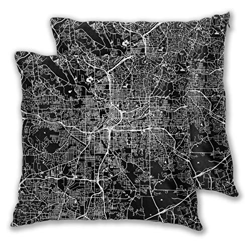 Fundas de cojín, Juego de 2, Atlanta Map Black Landmass Funda Decorativa de cojín Cuadrada para sofá, sofá, Dormitorio, Coche, 16 'x 16' en