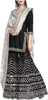 Black Indian Ethnic Designer Gotta Patti Work Mirror Work Handwork Silk Sharara Suit Salwar Kameez Flairy Bollywood Suit 8396 …