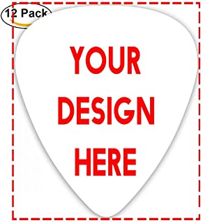 Custom Guitar Picks Plectrums 12-pack 0.46mm / 0.71mm / 0.96mm Add Your Own Text Name Personalized Message Image Stylish Colorful Celluloid For Bass Ukulele