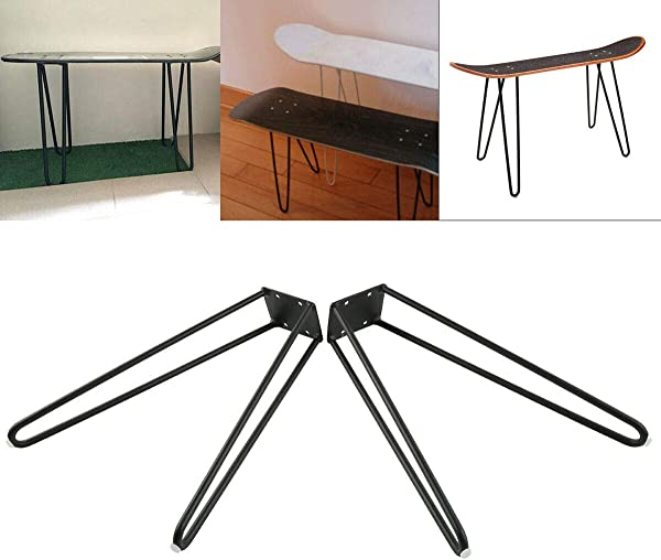 TC Home 17 Inch Set Of 2 Skateboard Hairpin Legs Solid Iron Table Legs Coffee