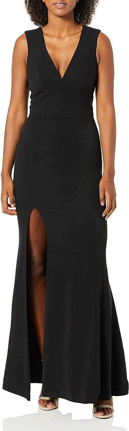 Dress the Population Women's Sandra Plunging Thick Strap Solid Gown with Slit Dress, black, S