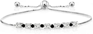 925 Sterling Silver Adjustable Tennis Bracelet Forever Classic Round 0.70ct (DEW) Created Moissanite by Charles & Colvard and Diamond