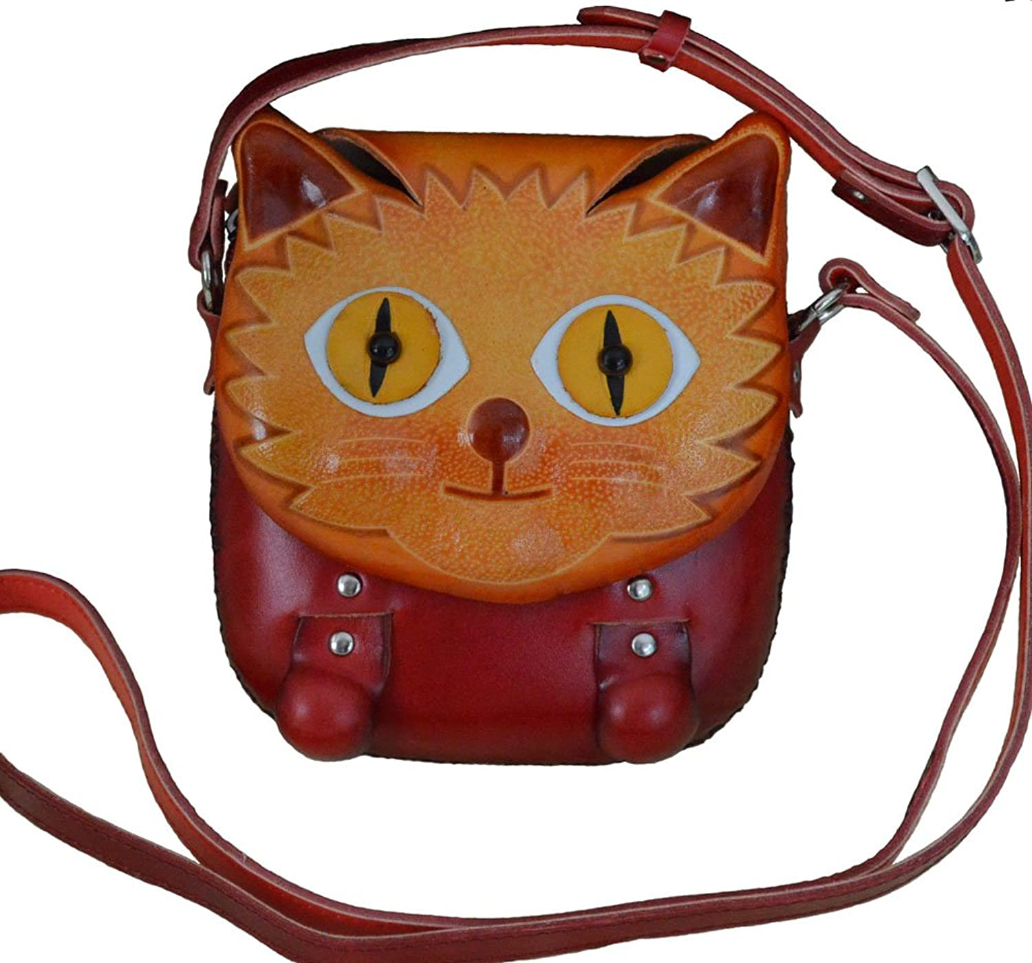 Beauty Kitty Cover,Genuine Leather CrossBody Bag,Handmade,a Collectible Satchel