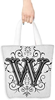 Shopping Bag,Letter W Capitalized Letter W with Symmetrical Ornaments Abstract Artwork Lines Dots,Reusable Grocery Bags,16.5
