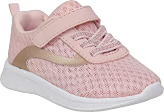 Toddler Girls Lightweight Mesh Jogger Shoes Pink with Gold Stripe