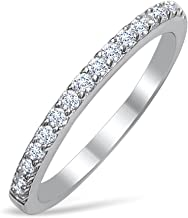 DTLA Ladies Thin Band .925 Sterling Silver Cubic Zirconia Stackable Ring - Choice Of Colors