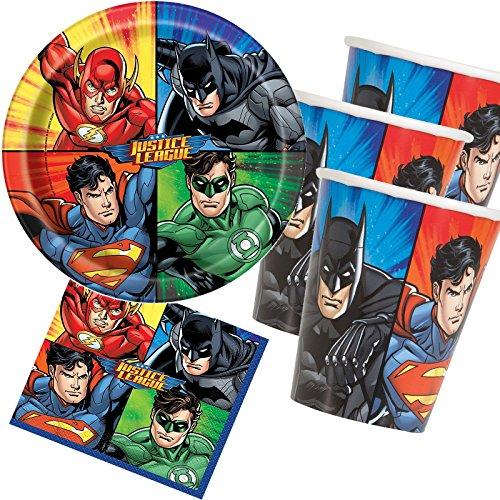 33-teiliges Party-Set * Justice League Superhelden * mit Teller + Becher + Servietten + Deko | Kindergeburtstag Kinder Geburtstag Motto-Party Web Warriors Superhelden Spider-Man Batman Superman
