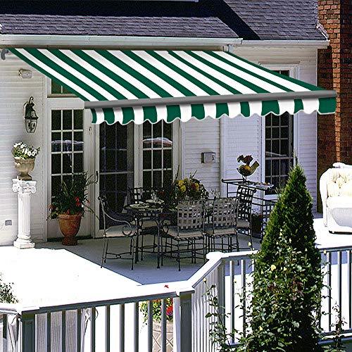 Greenbay 2 x 1.5m Manual Awning DIY Folding Awning Patio Garden Sun Shade Canopy Gazebo Retractable Green-White