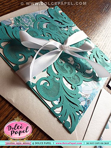 20 Teal and White Quartz Watercolor Leaves Laser Cut Pocket Wedding Invitations ANYEVENT & ANY COLORS