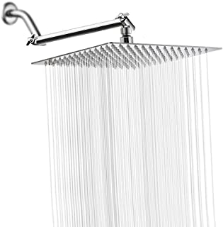 Rain Shower Head with 11'' Adjustable Extension Arm, Large Stainless Steel High Flow Rainfall Square Shower head, Bath Shower Waterfall Full Body Coverage (12 Inch Showerhead with Arm, Chrome)