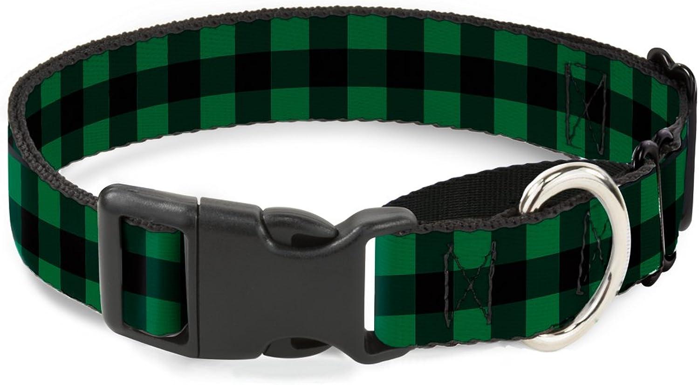 BuckleDown MGCW30246S Martingale Plastic Clip CollarBuffalo Plaid Black Green, 1 x915