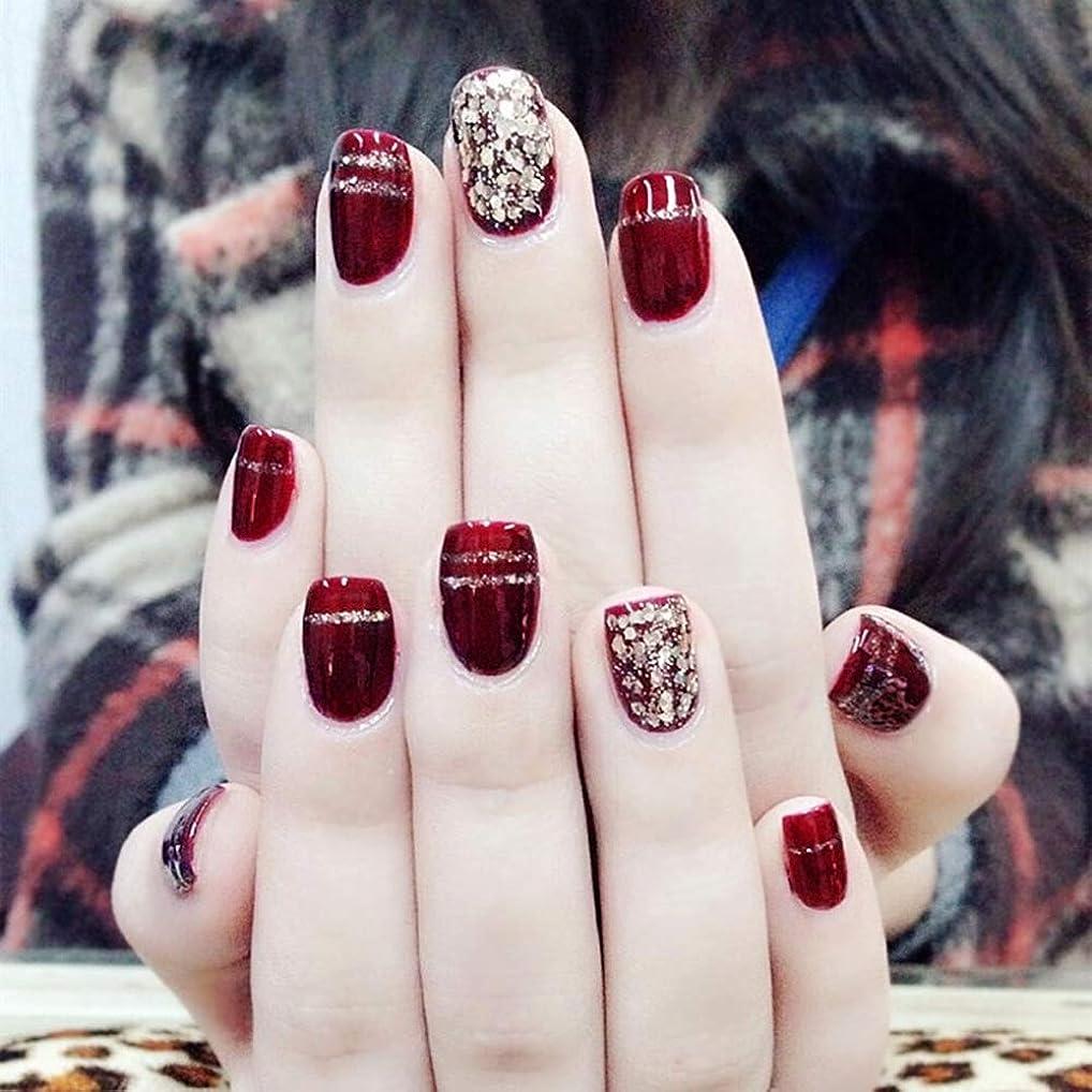 優しさ満足させる外側XUTXZKA ファッションワインレッド偽爪24ピースショートオーバルスパンコールの装飾フェイク人工爪のヒントステッカー
