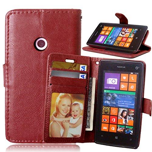 Fatcatparadise Cover per Nokia Lumia 520 [con Pellicola in Vetro Temperato], Cuoio Portafoglio Flip Magnetico Case Simple Wallet Case Custodia in PU Cover (Marrone)
