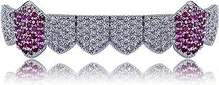 Gioielli Moca Hip Hop Unisex placcato in oro 18 carati Ghiacciato CZ Diamante simulato a una fila di denti inferiori Grill...
