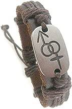 Metal Panel Bisexual Pride Male & Female Symbol Bi Pride Bracelet Wristband. One Wristlet LGBT Jewelry GLBT