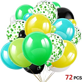 Konsait 70Pcs 12 Inches Green Confetti Balloons Latex Birthday Balloons Helium Balloons for Jungle & Forest Theme Party, Tropical Party, Hawaiian Party, Luau Party, Birthday Party Decorations Supplies