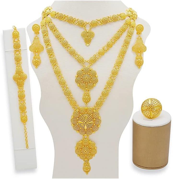 XiaoG Dubai Gold Colour Rose Flower Wedding Jewelry Set,Long Necklace Earring Ring Bracelet (Color : 1, Size : 55cm)