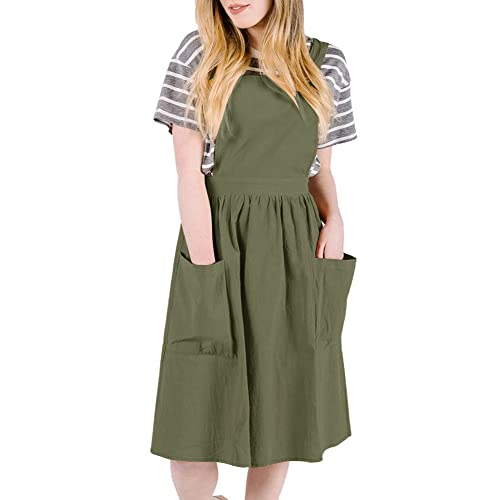 cbe80af273 Ofenbuy Womens Casual Sleeveless Strap A Line Overall Pinafore Dress with  Pockets