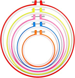 Caydo 5 Pieces Embroidery Hoops Multicolor Plastic Cross Stitch Hoop, 4.7 Inch to 10.8 Inch for Embroidery and Cross Stitch