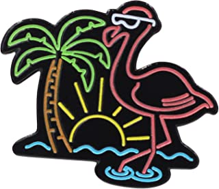 Real Sic Neon Flamingo – Chill Life Beach Enamel Pin - Glow-in-The-Dark Metal Lapel Pin for Backpacks, Jackets, Bags & Tops - Unisex Gift